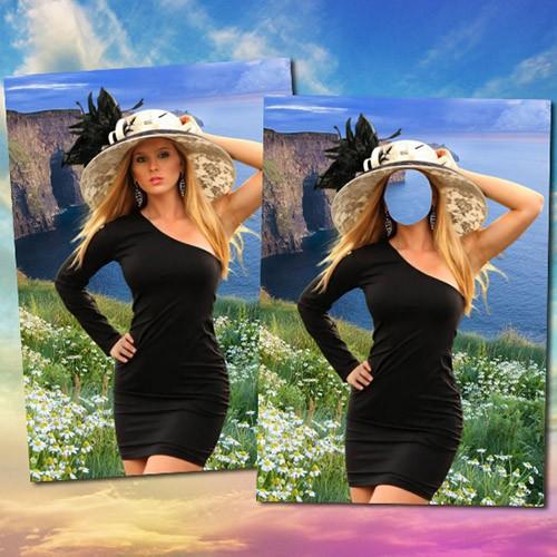 Женский фотошаблон - Девушка  на море