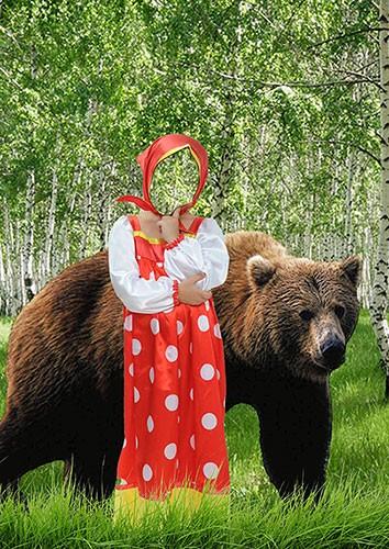 Костюм для фотомонтажа - Маша и медведь