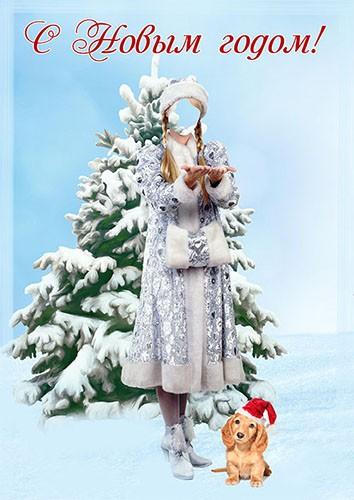 Фотошаблон - Поздравления с Новым годом от снегурочки