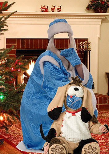 Парный фотошаблон - Снегурочка и собачка