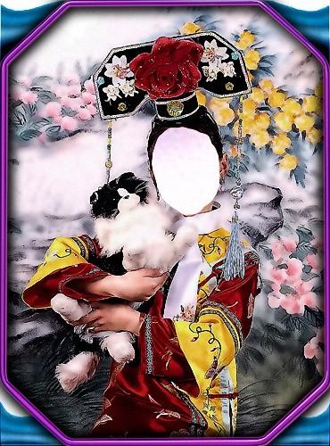 Шаблон фотошоп - Девочка и котенок