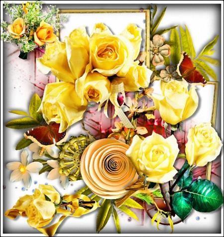 Клипарты на прозрачном фоне - Желтого цвета цветы