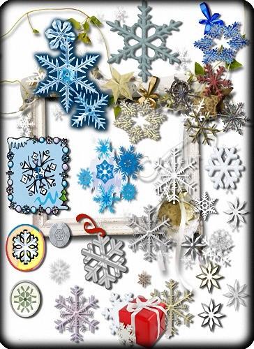 Клипарты png - Новогодние снежинки