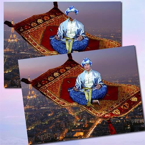 Мужской фотошаблон - Джин на ковре-самолете
