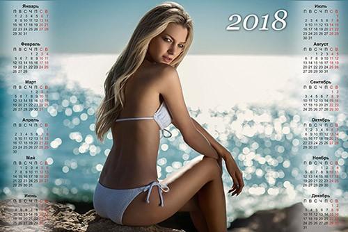 Календарь на 2018 год - Девушка в купальнике