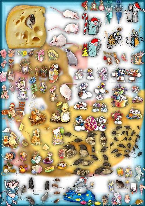 Клипарты картинки - Серые и белые мыши