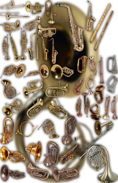 Клипарт для фотошопа на прозрачном фоне - Духовые инструменты