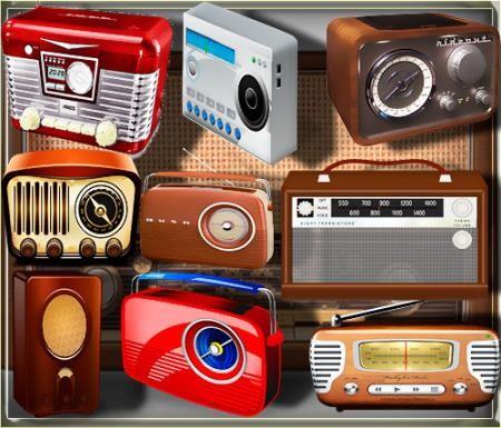 Прозрачные клипарты для фотошопа - Ретро радио
