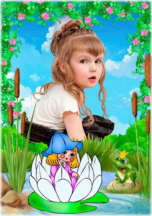 Рамка psd для детской фотографии - Дюймовочка