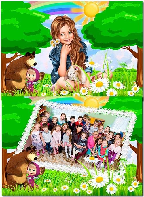 Детский коллаж - Маша и медведь