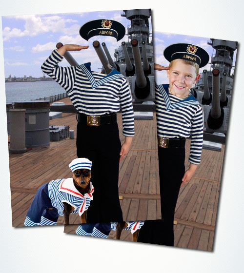 Шаблон psd для мальчика - Моряк