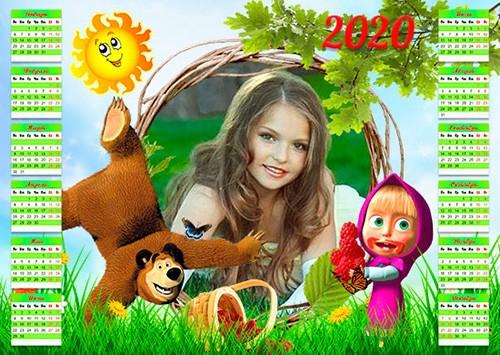 Календарь-рамка на 2019, 2020 год - Лето с Машей и медведем